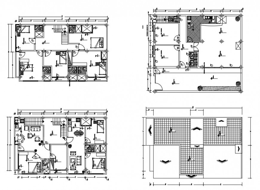 Residential house floor plan and cover plan cad drawing details dwg file