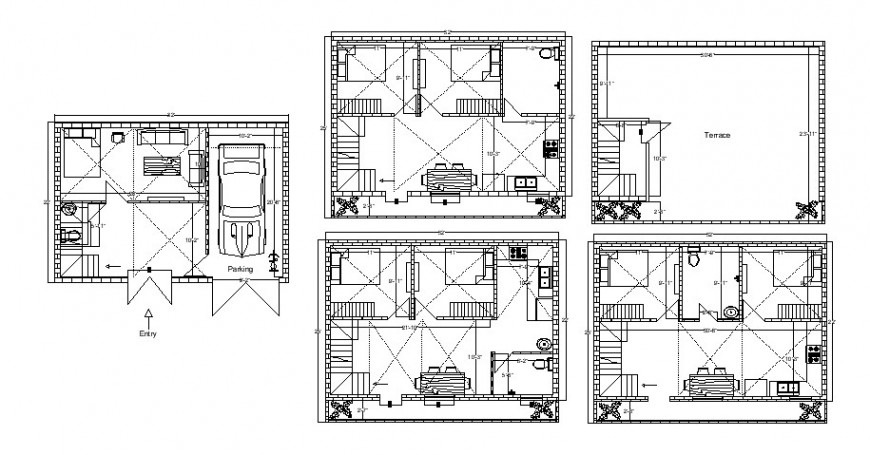 Residential house floor plan distribution with terrace cad drawing details dwg file