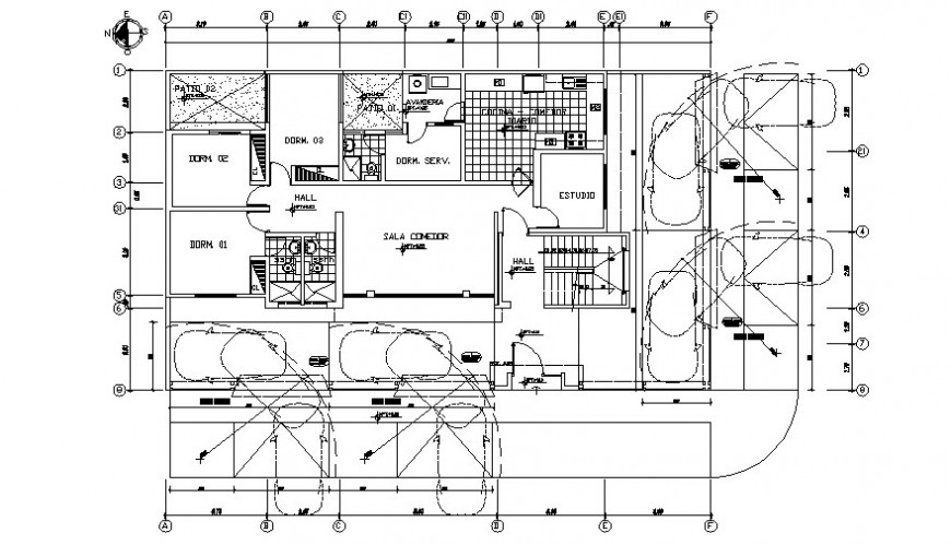 Residential house floor plan drawing 2d view autocad software file