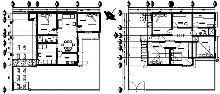 Residential house floor plan with furniture cad drawing detail dwg file
