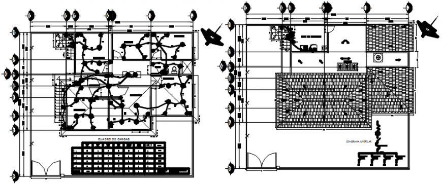 Residential house floors layout plan and electrical installation details dwg file