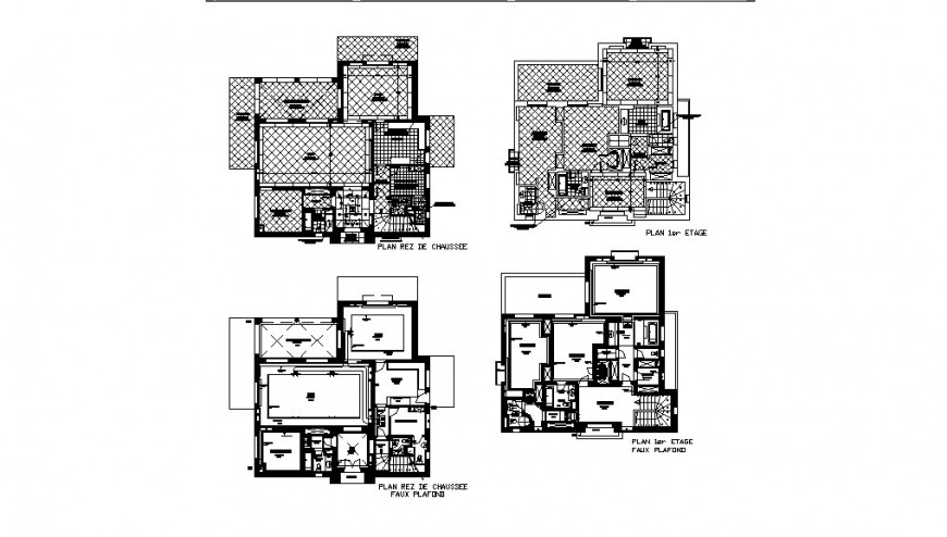 Residential house floors layout plan auto-cad drawing details dwg file