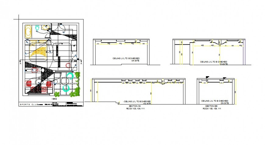 Residential house for sports man plan, electrical and ceiling details dwg file