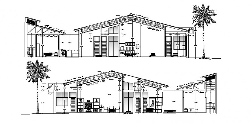 Residential house front, back and cut section cad drawing details dwg file
