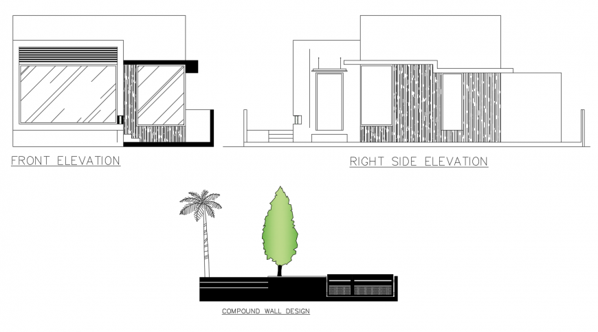 Residential house front and right side elevation with compound wall dwg file