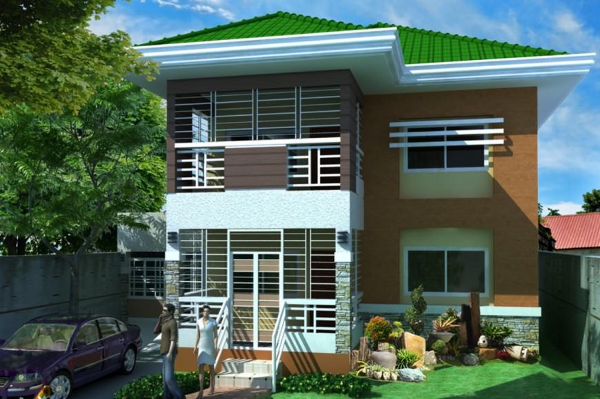 Residential house front elevation 3d model drawing details jpg file
