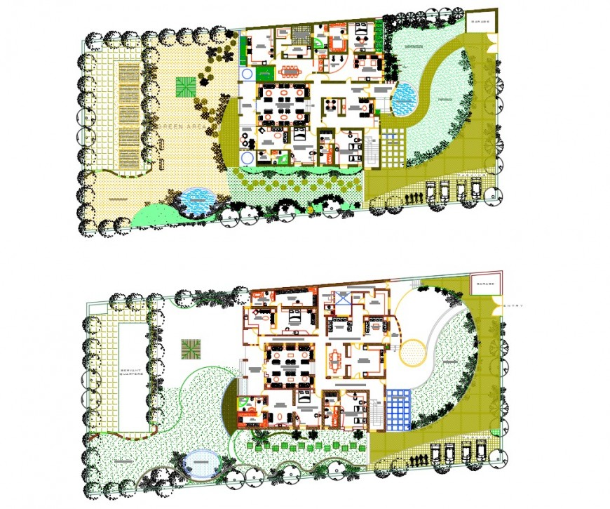 Residential house ground floor site layout plan cad drawing details dwg file
