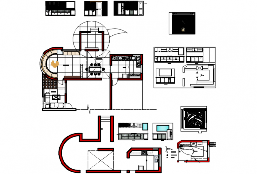 Residential house layout layout plan and all area furniture details dwg file
