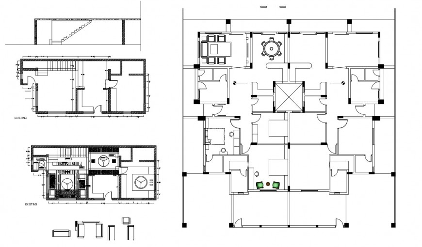 Residential house layout plan, ceiling plan and structure cad drawing details dwg file