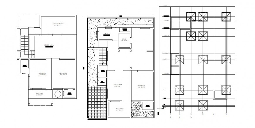 Residential house layout plan and foundation plan cad drawing details dwg file