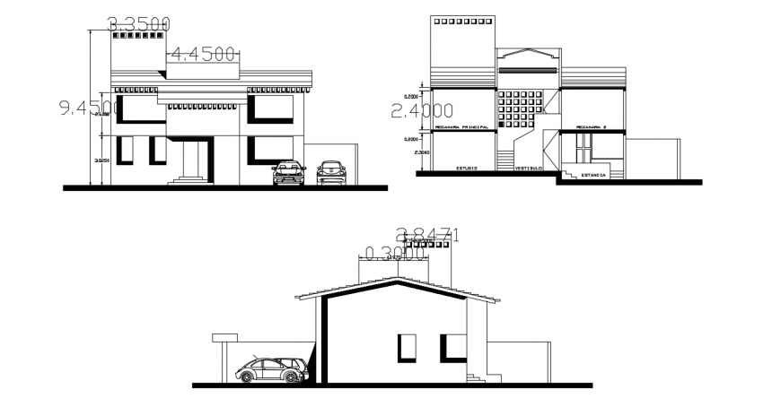 Residential house main and back elevation and front section drawing details dwg file