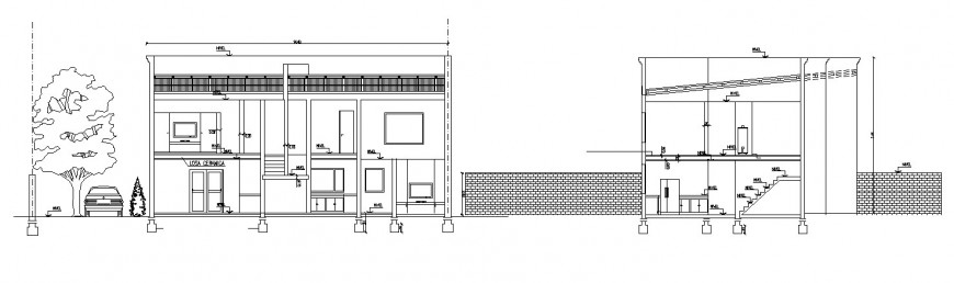Residential house main elevation and main section cad drawing details dwg file