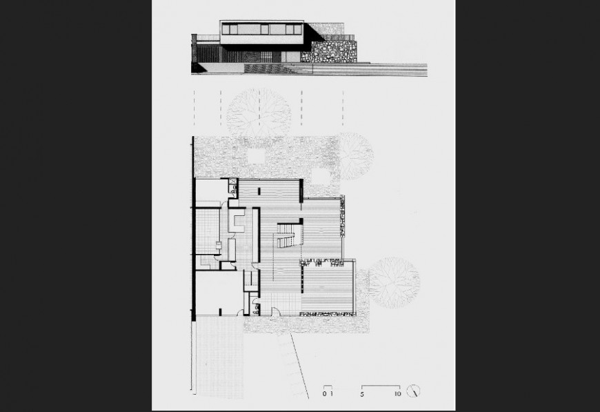Residential house main elevation and plan cad drawing details jpg file