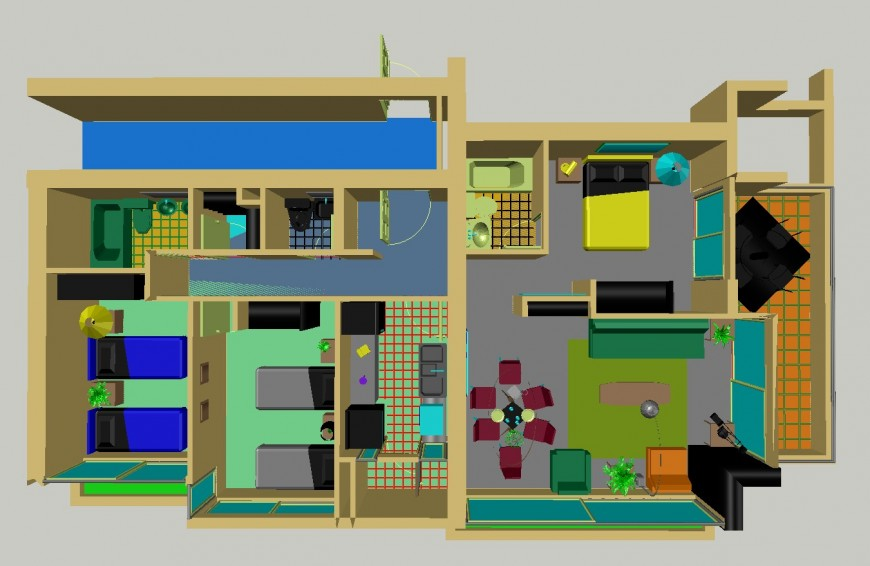 Residential house of apartment building 3d layout plan cad drawing details dwg file