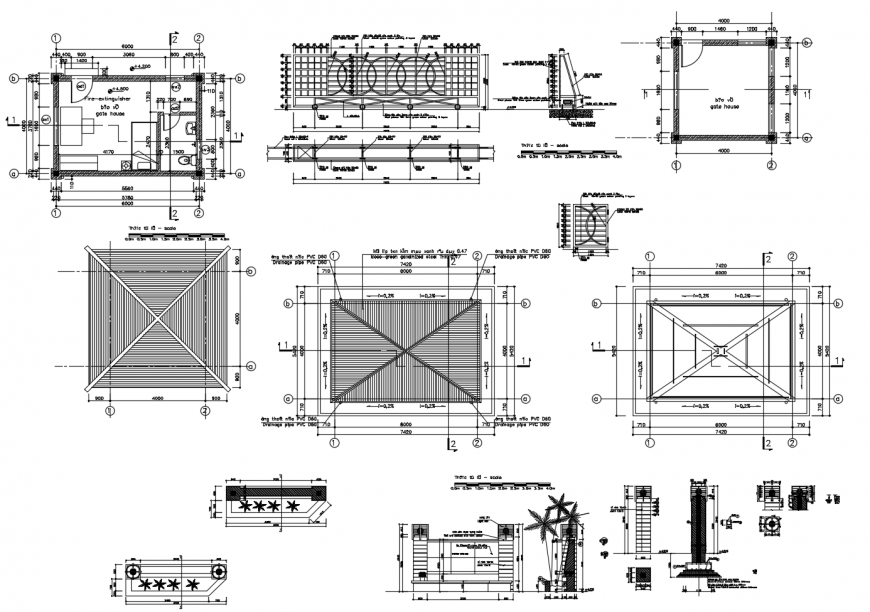 Residential house plan, cover plan and structure cad drawing details dwg file