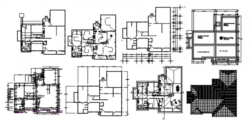 Residential house plan, electrical installation, foundation and structure details dwg file
