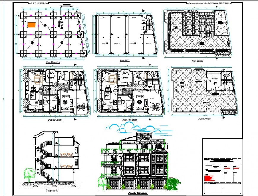 Residential house plan, elevation and section 2d view layout file in dwg format