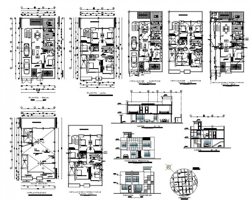 Residential house plan, elevation and section detail CAD structural block layout autocad file