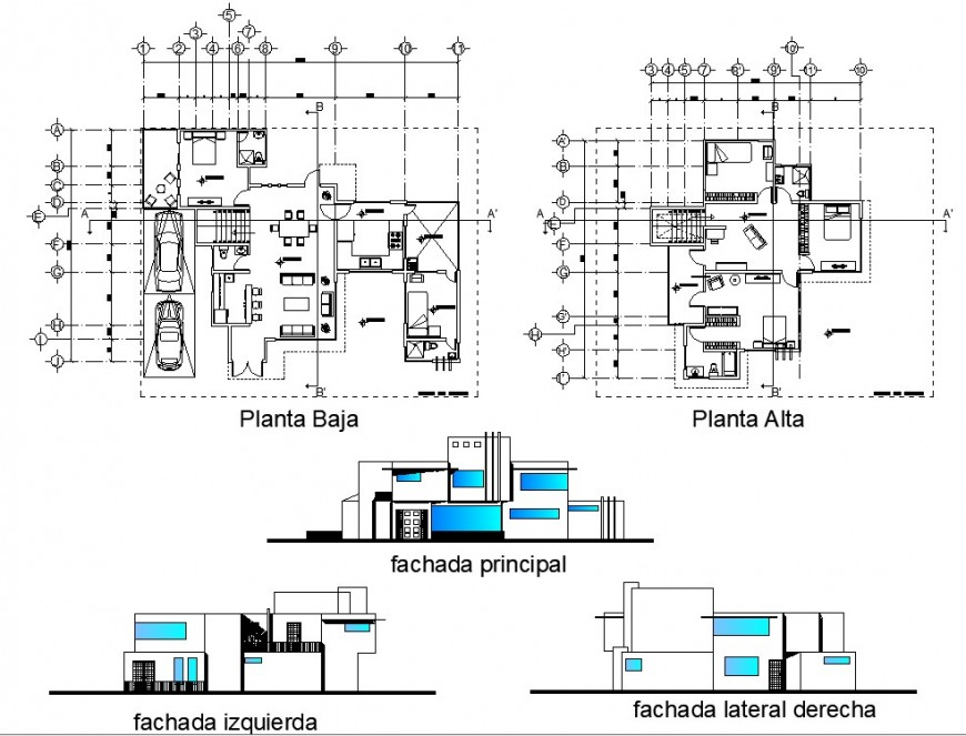 Residential house plan and elevation detail dwg AutoCAD file