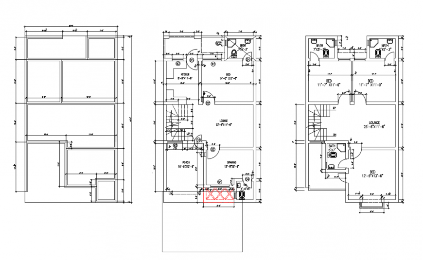 Residential House plan lay-out detail in this drawing DWG File