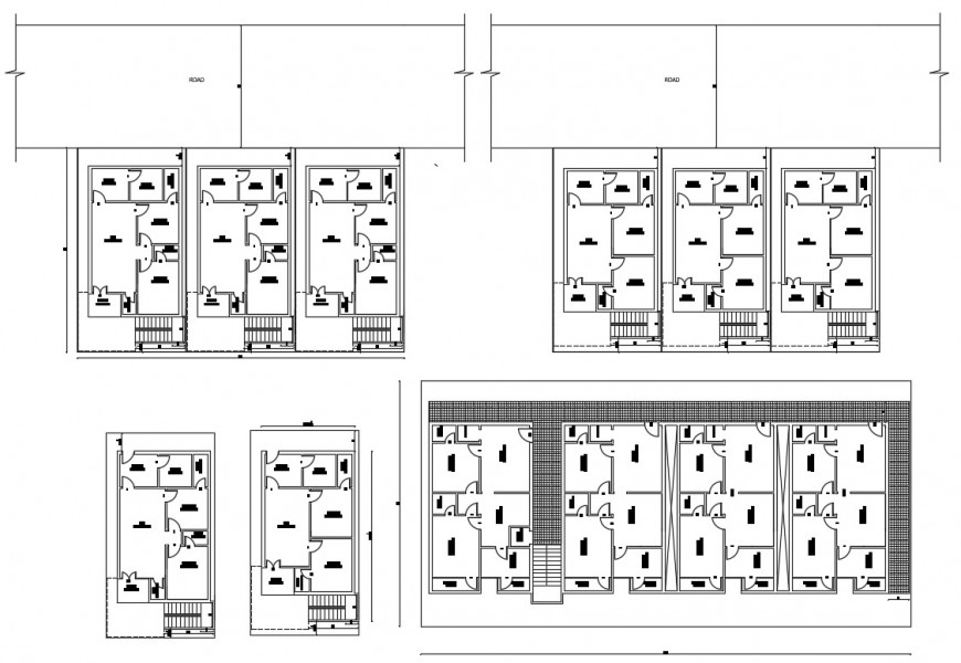 Residential house plan with detail dimension in autocad