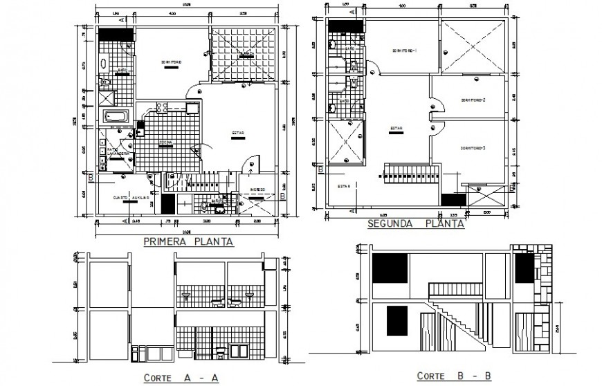 Residential house plan with sectional details in autocad