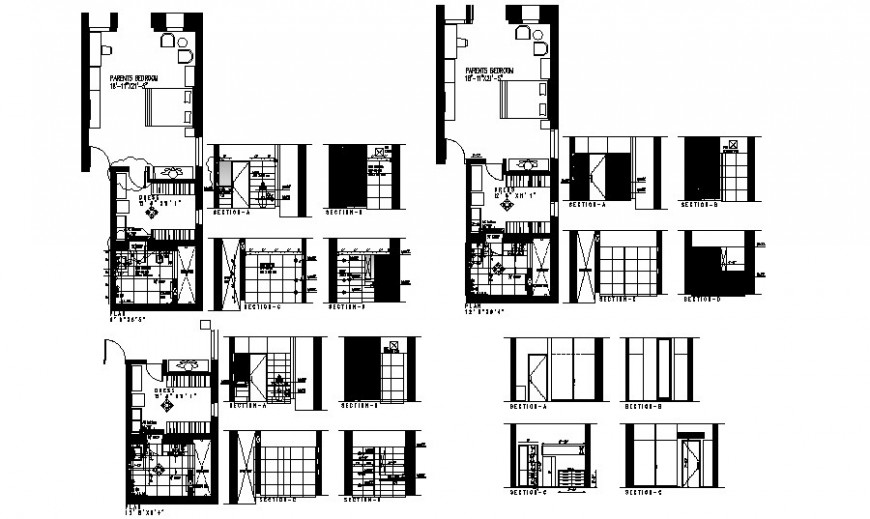 Residential house room details drawing a plan and section autocad file