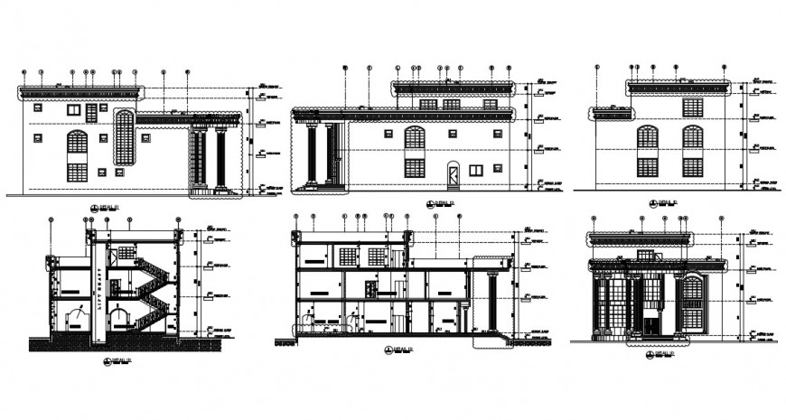 Residential house sample elevation, section and structure details dwg file