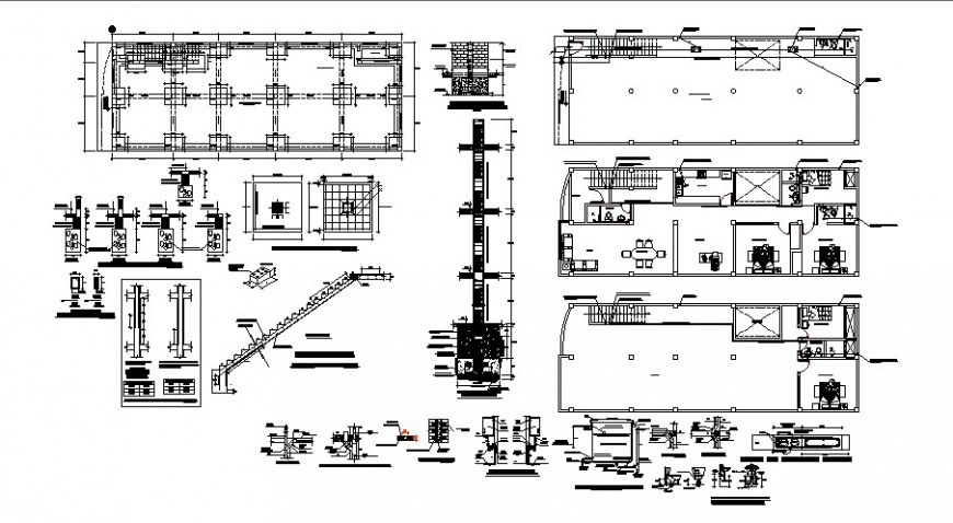 Residential house several construction and plan auto-cad drawing details dwg file