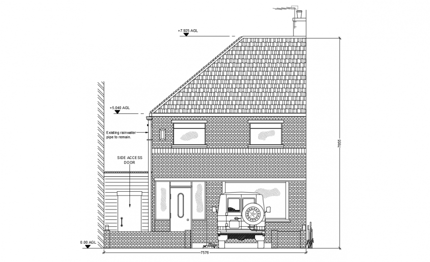 Residential house side elevation cad drawing details dwg file