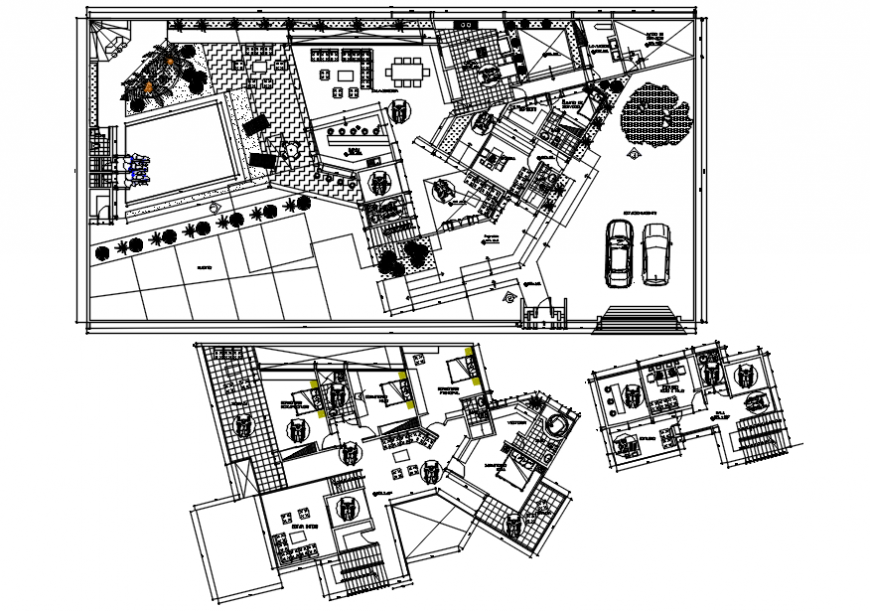 Residential house site layout plan and floor plan distribution drawing details dwg file