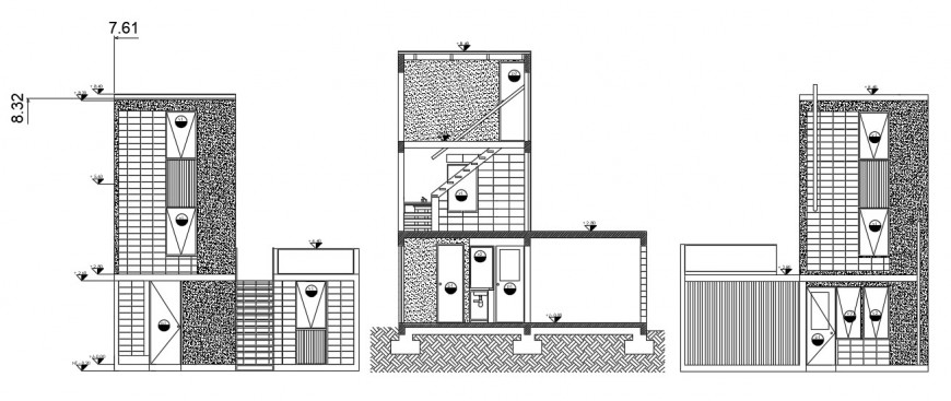 Residential house three sided elevation cad drawing details dwg file