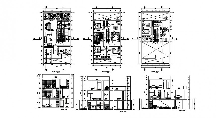 Residential house three story elevation, section and floor plan cad drawing details dwg file