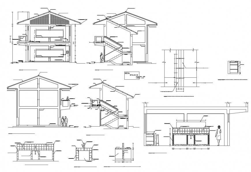 Residential house two-level all sided section cad drawing details dwg file
