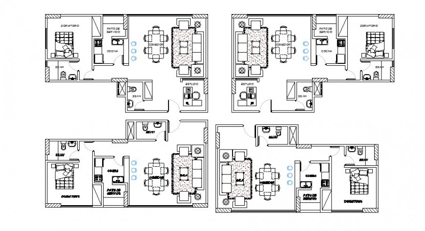 Residential houses of apartment building layout plan cad drawing details dwg file