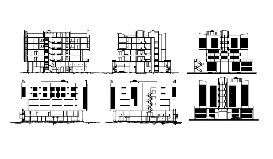 Residential housing apartment building all sided elevation and sectional details dwg file