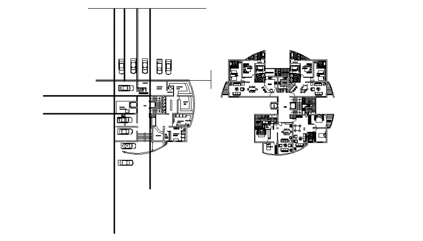 Residential housing apartment building basement and first floor plan details dwg file