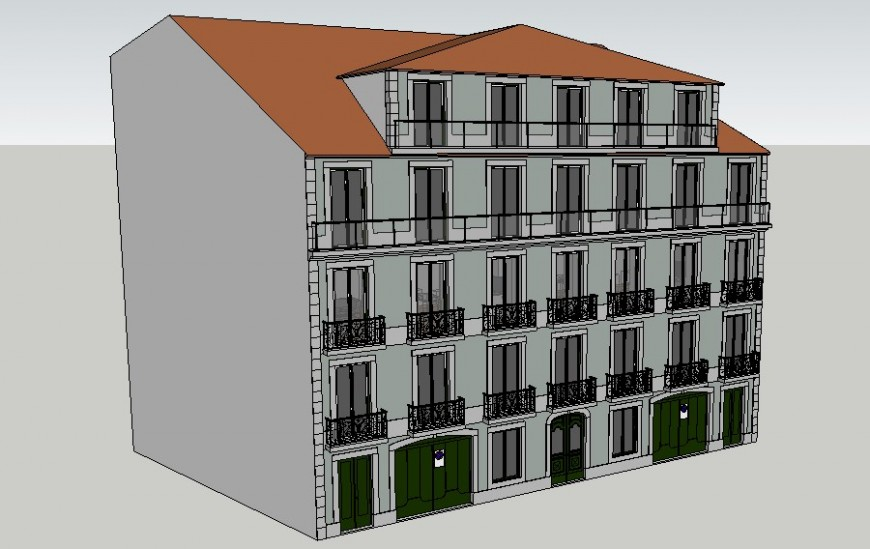 Residential housing apartment drawings 3d model sketch-up file