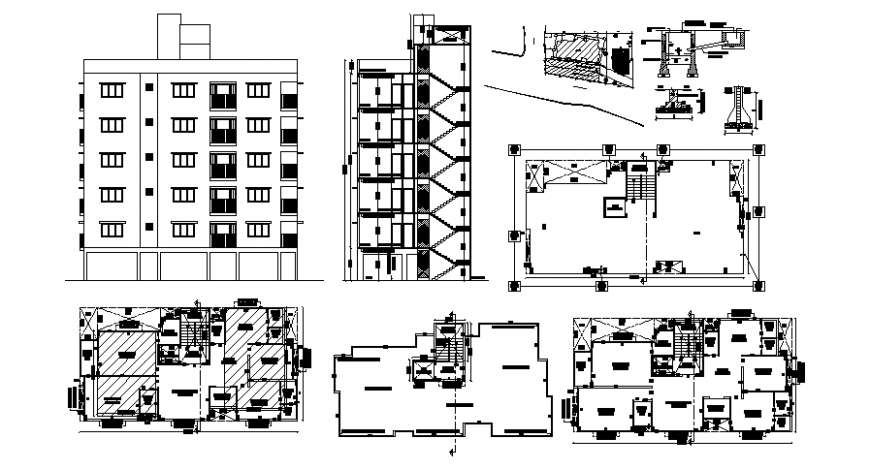 Residential housing apartment drawings detail 2d view plan elevation and section dwg file