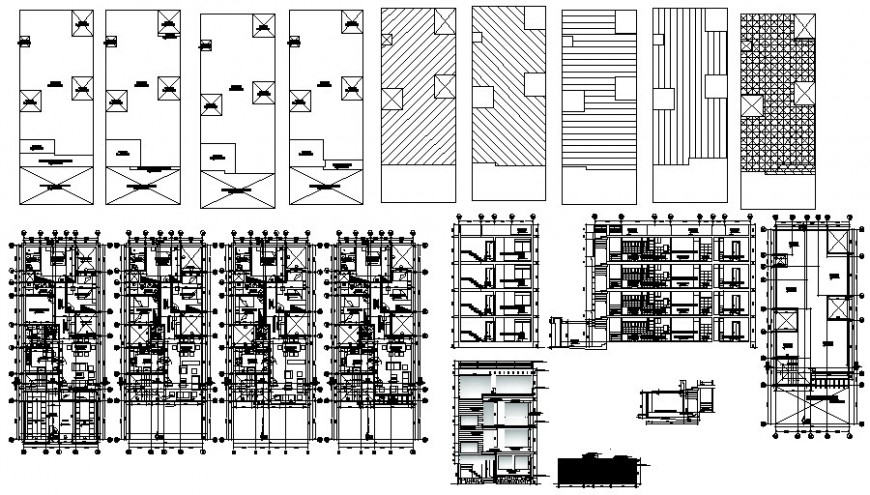 Residential housing apartment drawings plan elevation and section dwg file