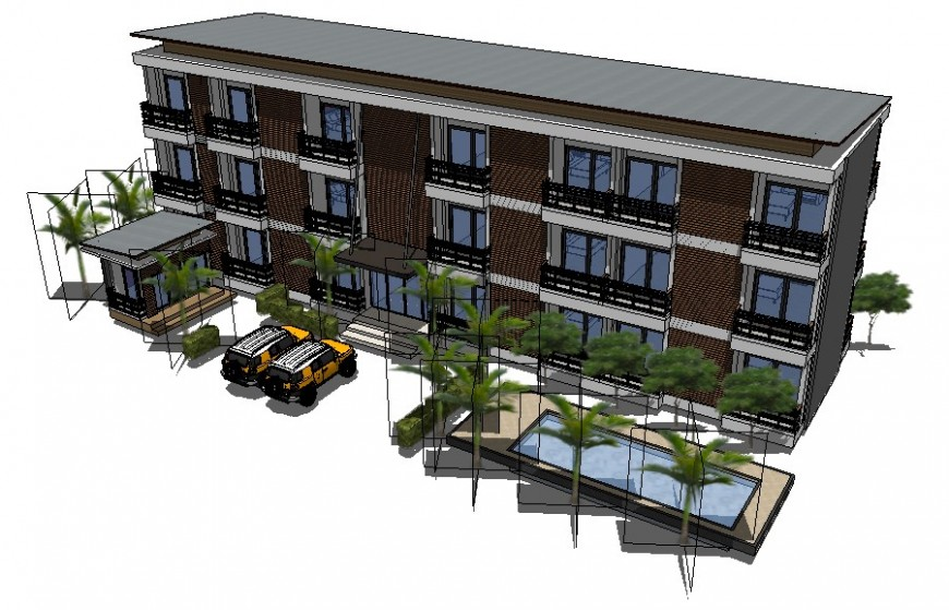 Residential housing apartment flats drawings 3d model sketch-up file