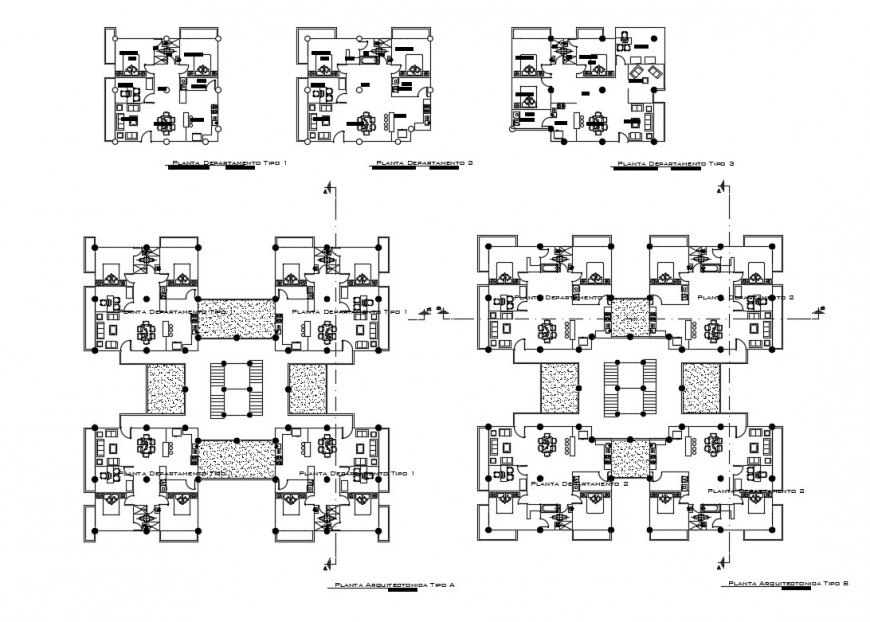 Residential housing apartment floors plan cad drawing details dwg file
