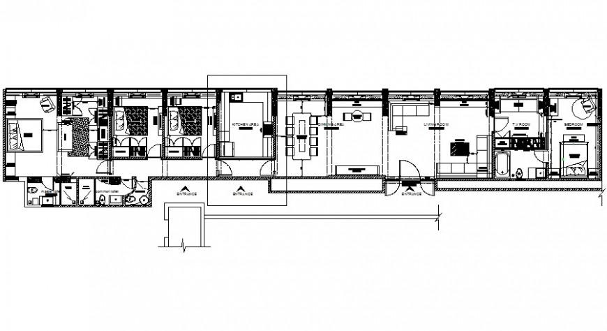 Residential housing blocks detail 2d view work plan autocad software file
