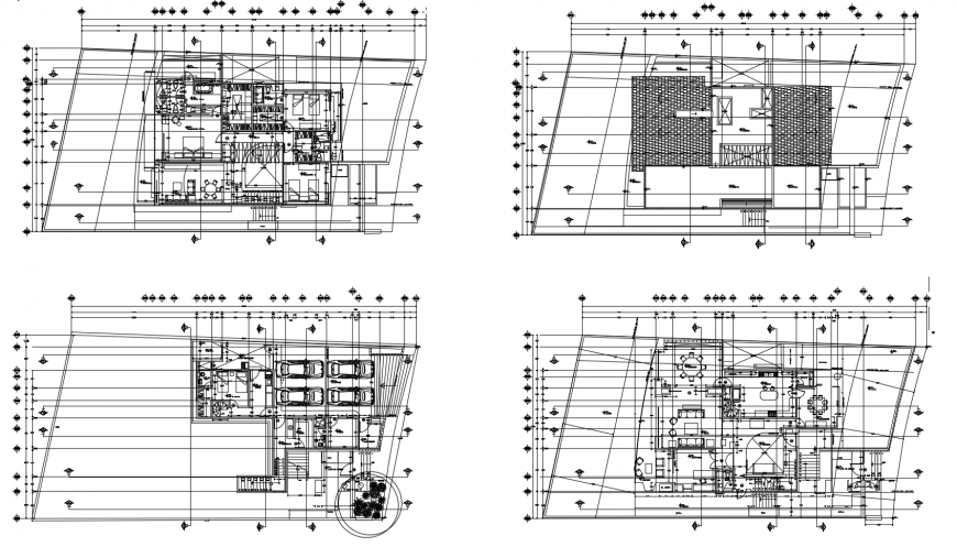 Residential housing Building 2d view layout autocad file