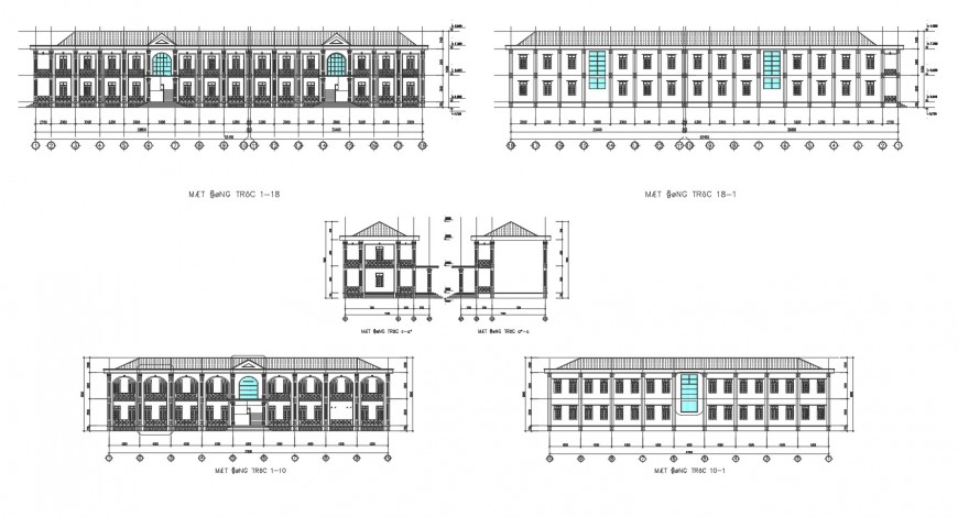 Residential housing building all sided elevation and back sectional cad drawing details dwg file