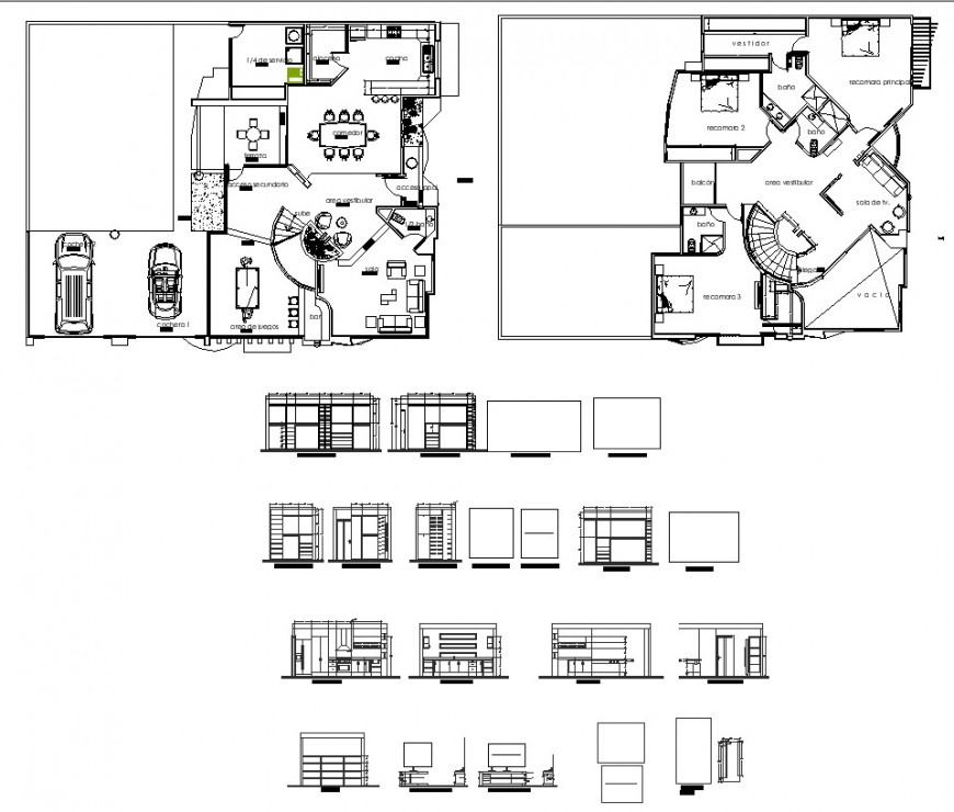 Residential housing building detail 2d view CAD structure layout autocad file