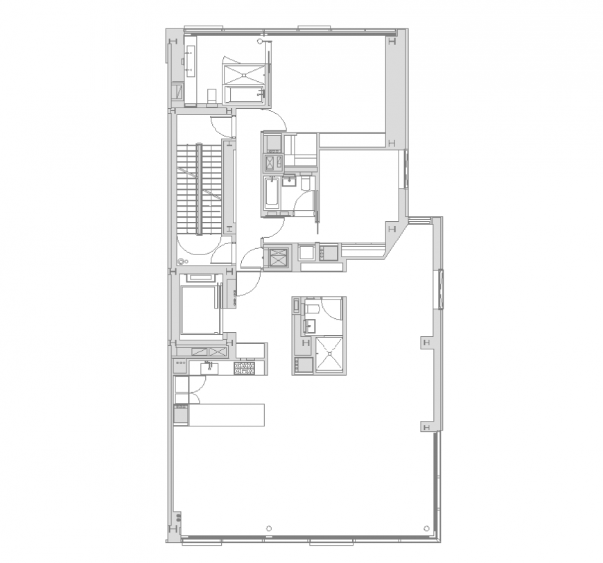 Residential housing building structure detail 2d view layout autocad file