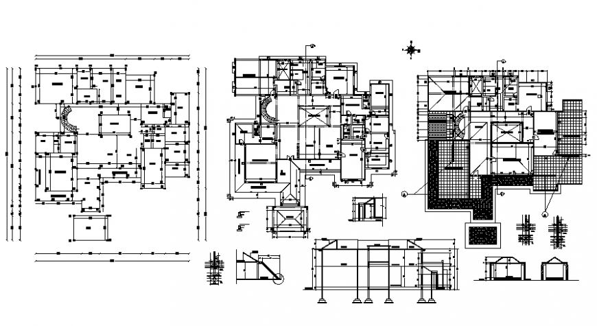 Residential housing bungalow 2d view floor plan dwg autocad file