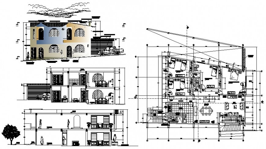 Residential housing bungalow plan elevation and section autocad file