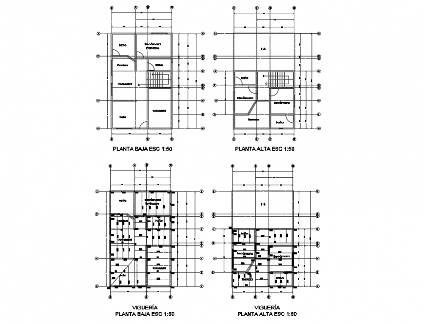 Residential housing floors structure design details dwg file